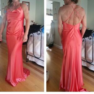 Orange prom/formal long size 4